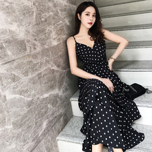2019 new small fresh gentle wind strap dress female summer pp home long skirt wave cake v-neck dress