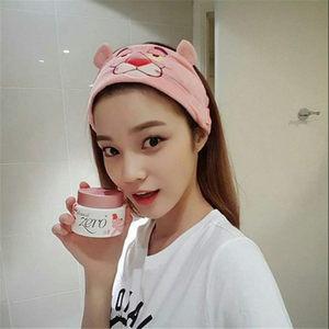 洗脸发带头饰 韩国粉色可爱豹刺绣图案甜美月子发带 面膜化妆头带