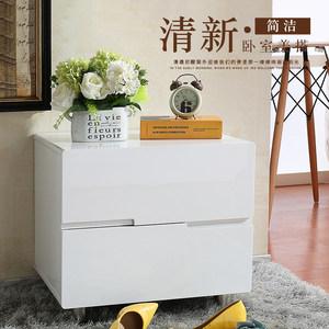 <span class=H>床头柜</span>简约现代象牙白色烤漆韩式床边柜卧室收纳储物柜实木二斗柜