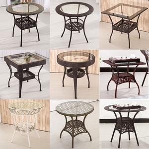 阳台休闲小圆桌藤编钢化玻璃<span class=H>茶几</span>简约现代圆形喝茶桌椅迷你方桌子