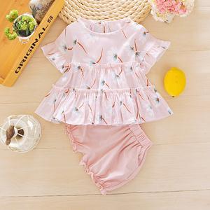 童装女童夏装套装0一1-2-3岁女宝宝夏天衣服外出婴幼儿雪纺两件套