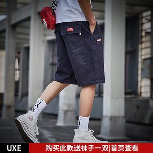 UXEIS 日系复古简约休闲五分裤男宽松夏季学生潮牌原宿工装<span class=H>短裤</span>男