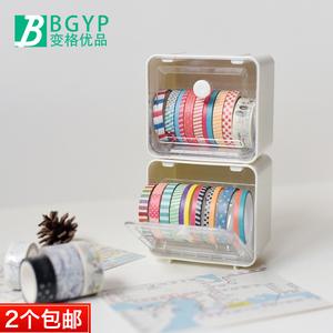 日本进口文具INOMATA 胶带桌面<span class=H>收纳盒</span> 胶带座 文具手帐整理盒子