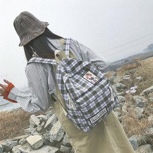 帆布双肩包女2019新款日系韩版学院风大学生<span class=H>书包</span>简约百搭旅行背包