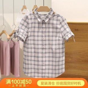 優系列●短袖純棉格子襯衫學院風女學生2019夏季新款品牌折扣女裝