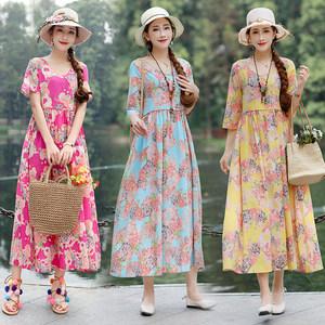 2019夏季新款民族风女装裙子短袖宽松棉麻复古印花V领长款<span class=H>连衣裙</span>