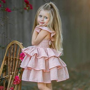 2018夏季新款女童粉色格子纯棉露背绑带<span class=H>连衣裙</span>儿童吊带蛋糕蓬蓬裙