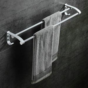 太空铝加厚<span class=H>带钩</span>卫生间双杆<span class=H>毛巾架</span><span class=H>单杆</span>毛巾杆挂杆 浴室卫浴挂件