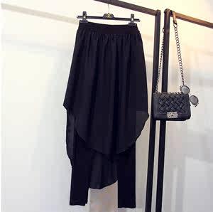 2019春季新款大码个性欧美风不规则雪纺拼接打底假两件小脚裤裙