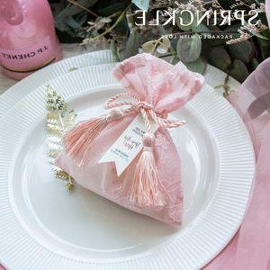 欧式婚礼中式<span class=H>礼品袋</span>喜糖盒抽绳袋糖袋结婚用品礼盒婚庆伴手礼袋子