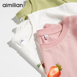 2件79元】粉色短袖t恤女中长款纯棉夏季2020年新款宽松纯棉上衣