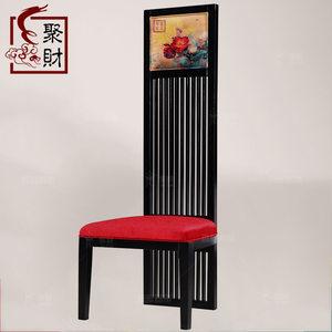 新中式<span class=H>高背椅</span> 实木餐椅印花休闲椅高档酒店包厢全屋配套家具定制