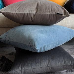 北欧沙发紫色PP棉纯色天鹅绒<span class=H>抱枕</span>套不含芯靠垫抱垫办公室腰靠背垫