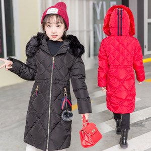 2019新款女童羽绒服中长款大毛领加厚棉服中大童长款冬季修身外套