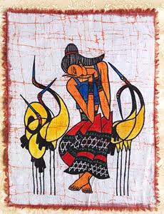 苗族蜡染画民族风酒吧装饰画人物无框画布艺壁画挂画装饰画