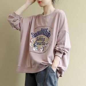 女纯棉文艺复古长袖T恤