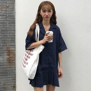 夏季韩版气质西装领宽松显瘦条纹衬衫裙百搭裙子百褶连衣裙女学生