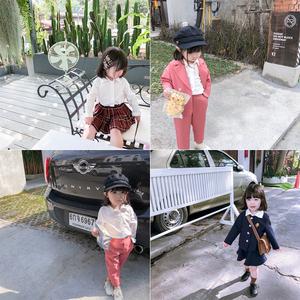 蓝小爸<span class=H>童装</span>2019新款春秋装儿童白色衬衣宝宝洋气上衣女童薄款衬衫
