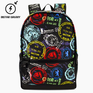 比斯达高中生书包女欧美双肩包男学生时尚潮流大容量韩版帆布背包