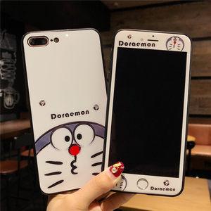 iphone7plus卡通钢化膜<span class=H>苹果</span>6s手机壳彩膜8p全屏防爆玻璃膜X可爱萌