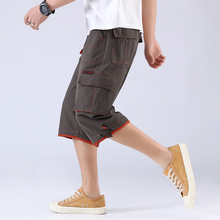 Summer seven-minute trousers, men's shorts, multi-pocket overalls, straight bottoms, loose casual large men's beach trousers and horse trousers