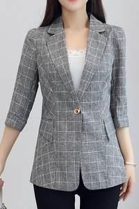 2018夏季小西服女棉麻七分袖上衣薄款修身收腰千鸟格子西装短外套