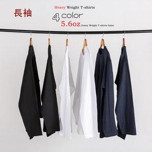 Geyuna日本重磅白色<span class=H>长袖</span>T恤男纯棉纯色打底衫chic秋装纯白上衣女