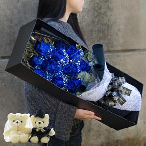 蓝色妖姬蓝玫瑰花束礼盒鲜花速递同城成都长沙太原武汉生日送花店