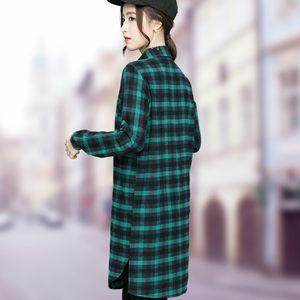 中长款格子<span class=H>衬衫</span>裙女宽松韩国过膝2019春装新款上衣服纯棉磨毛衬衣