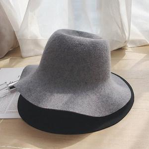 圆顶渔夫帽羊毛呢盆帽日系百搭可折叠大檐韩版<span class=H>帽子</span>女士秋冬季礼帽