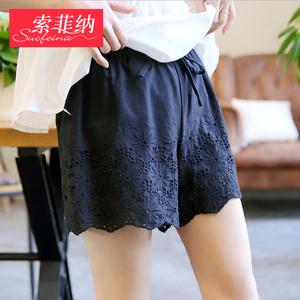 夏季新款纯棉安全裤女外穿打底保险裤镂空花边短裤宽松大码裙裤薄