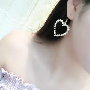 新薇桃心爱心人造珍珠耳环女气质长款甜美韩版耳坠个性无耳洞<span class=H>耳夹</span>