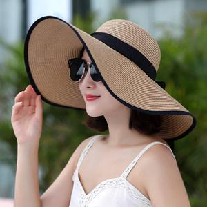 沙滩帽遮阳<span class=H>草帽</span>大沿帽子女夏天可折叠防晒太阳帽海边度假韩版百搭