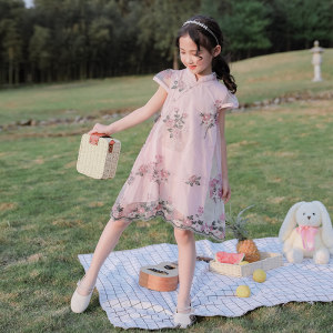 女童汉服裙子夏装中国风<span class=H>旗袍</span>小女孩公主裙洋气2019新款儿童连衣裙