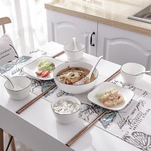 碗碟套装家用组合4人日式方形碗盘子<span class=H>餐具</span>创意陶瓷简约北欧风包邮