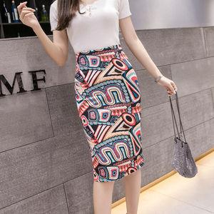 民族风春夏季新款2018修身显瘦半身裙包臀过膝中长款<span class=H>铅笔裙</span>女包邮