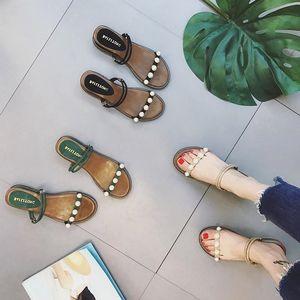 2018新款坡跟两穿百搭学生中跟<span class=H>珍珠</span>平底凉<span class=H>拖鞋</span>女夏时尚外穿沙滩鞋