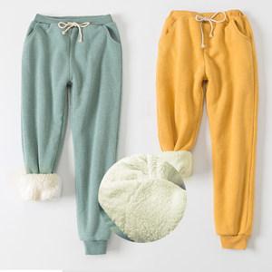 冬季羊羔绒加厚<span class=H>运动裤</span>小脚加绒休闲裤宽松哈伦卫裤大码棉裤长裤女