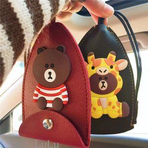 汽车通用钥匙包女可爱卡通抽拉式家用大容量<span class=H>钥匙套</span>带抽绳韩国创意