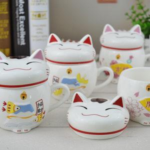 新年财运杯 招财猫杯子陶瓷 带盖 创意可爱礼品<span class=H>马克杯</span>水杯礼物