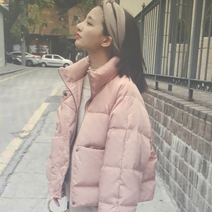 短款棉<span class=H>衣</span>女2017冬装新款白<span class=H>鸭绒</span>立领粉色羽绒棉服女加厚面包服外套