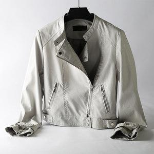 立领小<span class=H>皮衣</span>女短款个性韩国2019新款ins早春时尚BF韩版机车服夹克