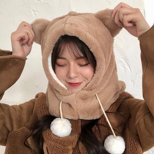 兔子耳朵<span class=H>帽子</span>女秋冬季甜美可爱冬天毛绒<span class=H>围巾</span>一体韩版百搭护耳保暖