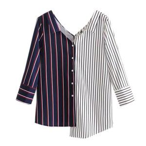 2018秋季新品欧美风七分袖不对称条纹拼接显瘦女士<span class=H>衬衫</span>个性上衣
