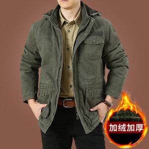 纯棉男士棉服2018新款加绒加厚冬季外套立领工装<span class=H>棉衣</span>男中长款夹克