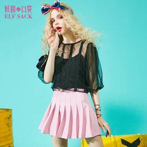 妖精的口袋夏季女装上衣网纱灯笼袖中袖雪纺衫<span class=H>小衫</span>两件套短款