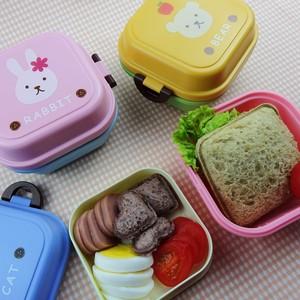 可爱小<span class=H>动物</span>儿童点心盒迷你<span class=H>便当盒</span>双层饭盒便携宝宝水果盒学生餐盒