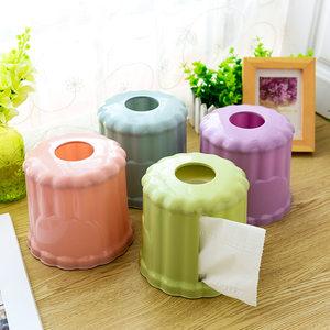 创意圆形塑料卷纸筒 桌面餐巾纸收纳抽纸筒 卷纸盒家用餐纸巾盒