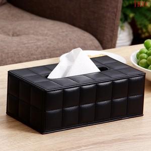 欧润哲 抽<span class=H>纸巾盒</span> 羊皮纹黑色长方卷纸巾擦手纸收纳盒