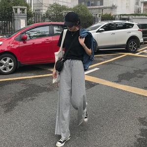 虎牙犬牙 休闲运动裤女2019夏季新款高腰系带宽松显瘦阔腿长<span class=H>卫裤</span>